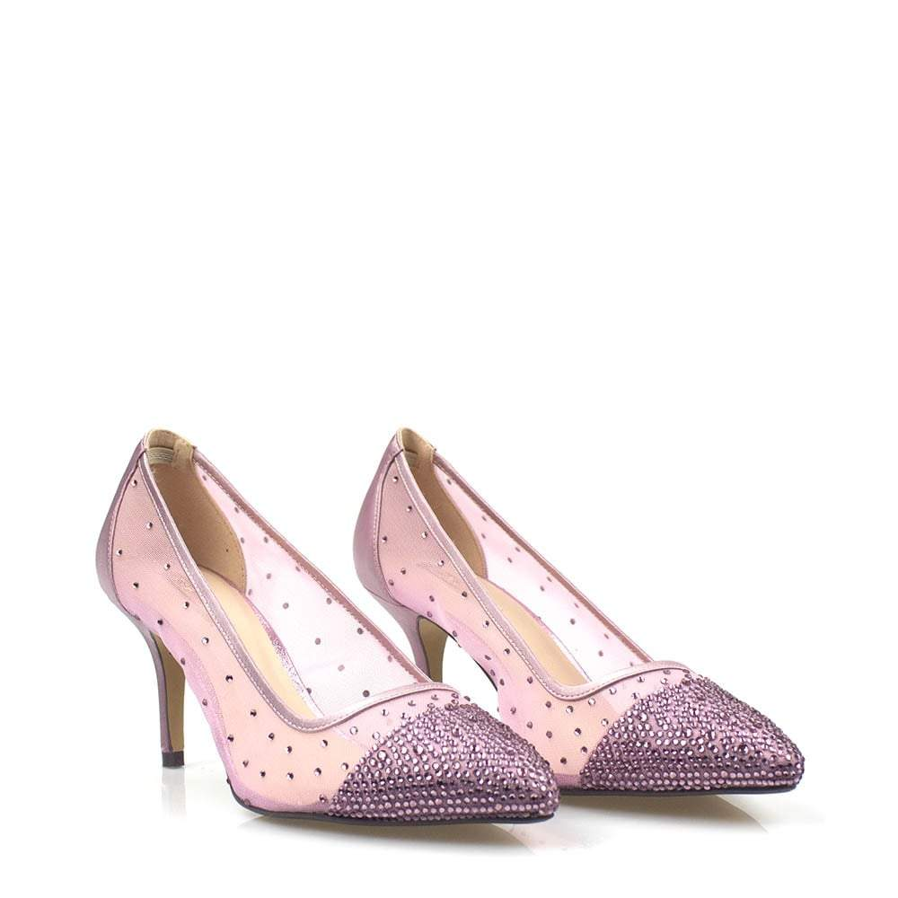 Pointed Toe Medium Court Shoe Encased In A Diamante Mesh