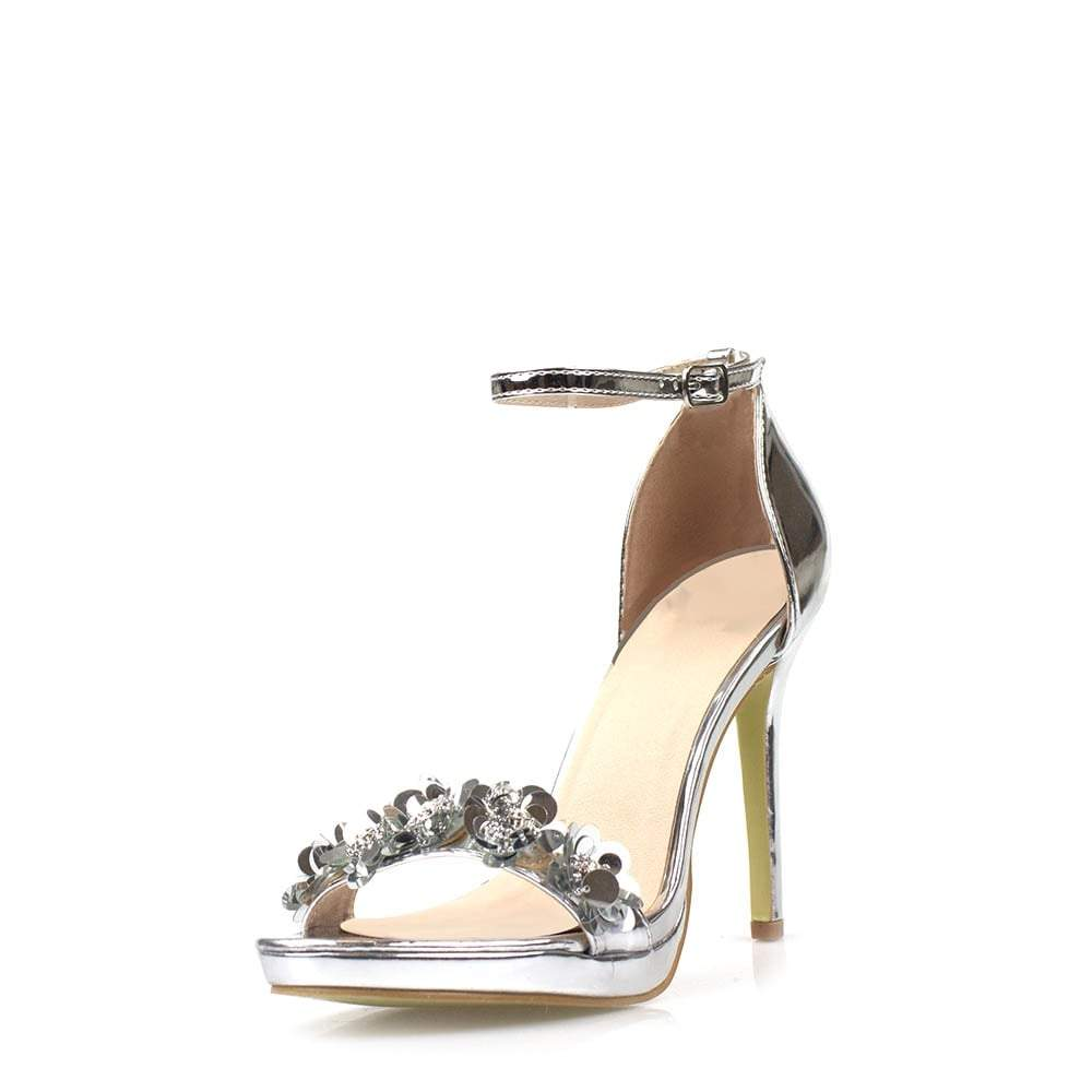 High Heel Ankle Strap Sandal With Sequin Flower Trim