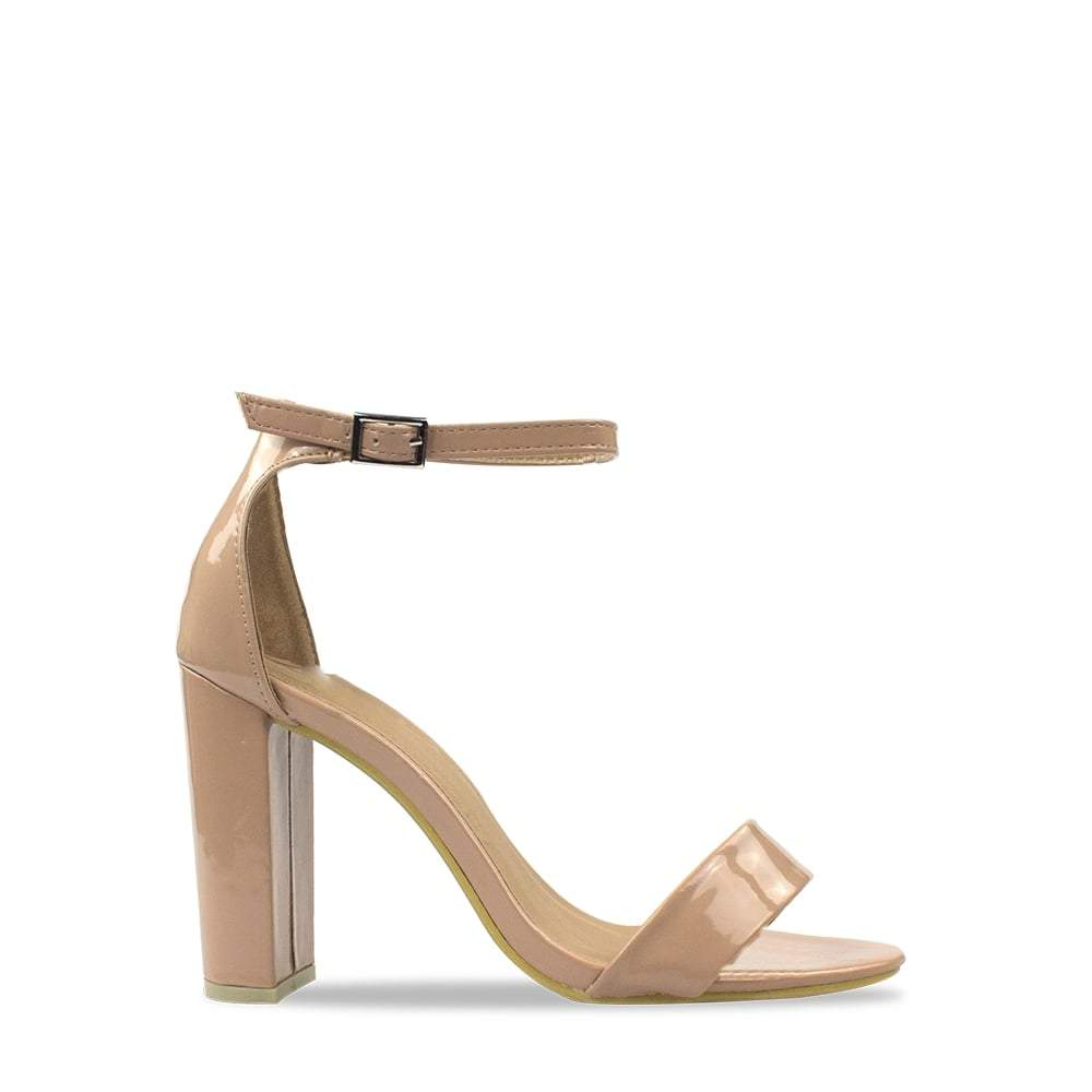 Barely There Block Heel Ankle Strap Sandal