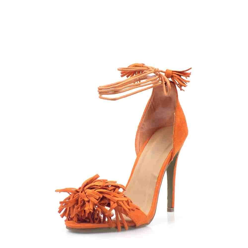 High Stiletto Heel Open Toe With Fringe Trim