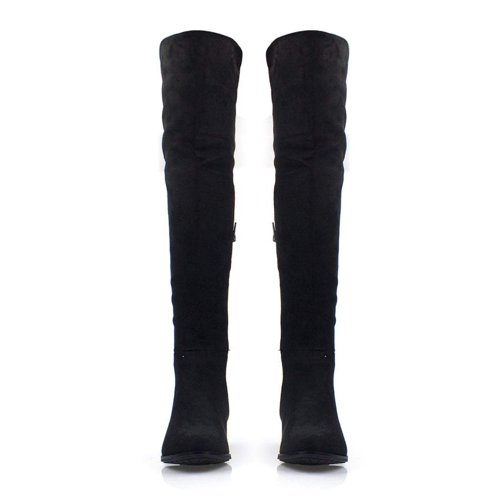 Over Knee Low Block Heel Stretch Panel Boot With Side Zip