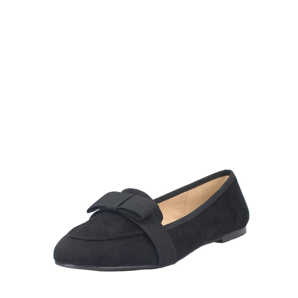 Chrissie Faux Suede Slip On Loafers With Bow Detail And Rubber Sole