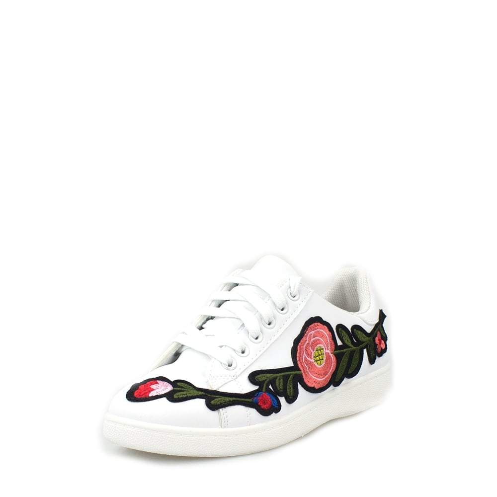 Harlea Floral Embroided Lace Up Trainers In Faux Leather