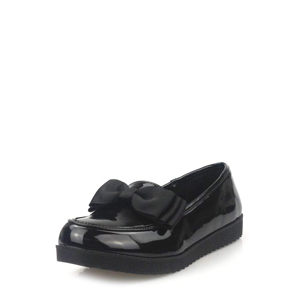 Stacia Patent Bow Detail Cleated Flatform Sole Loafers