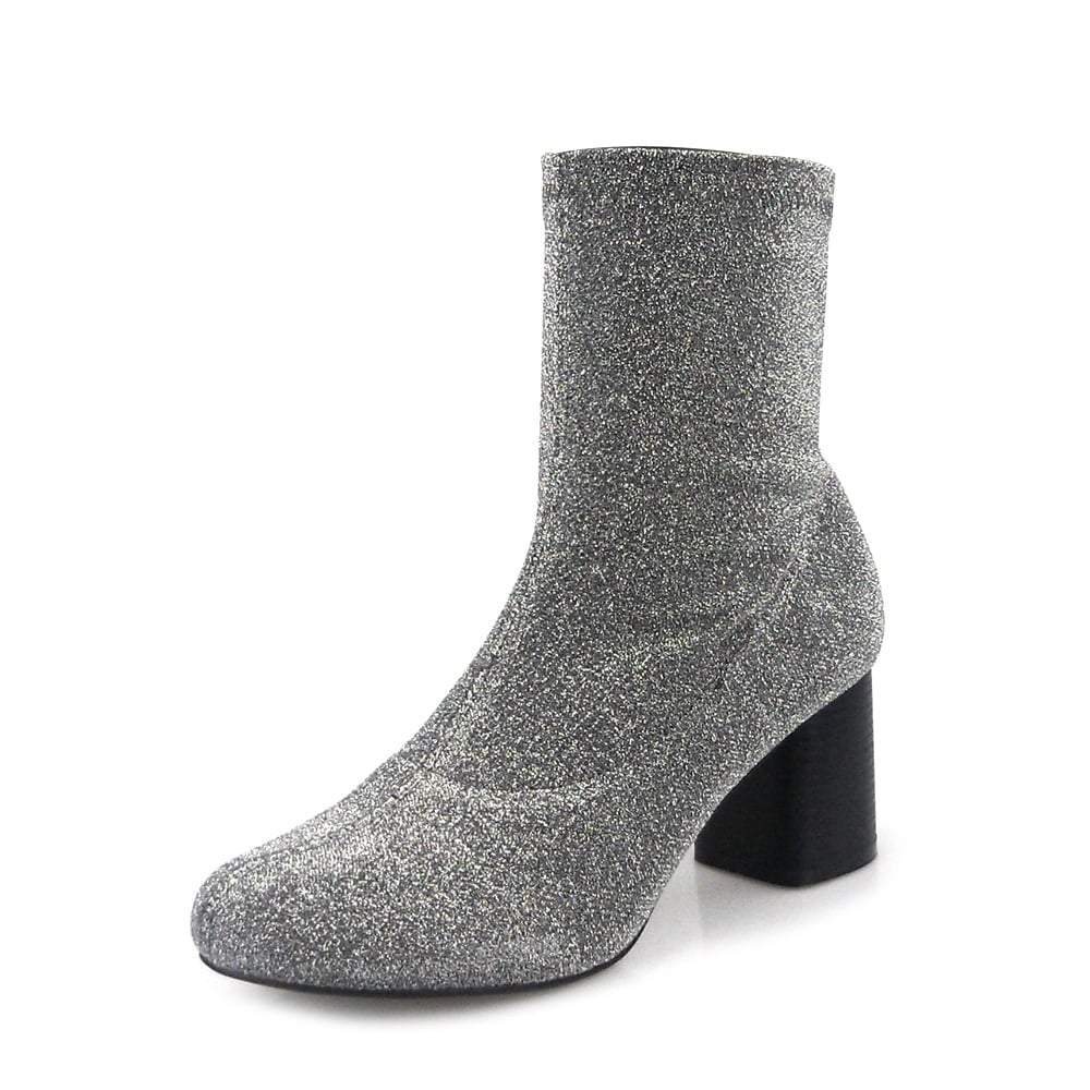 Ladies Block Heel Knitted Glitter Ankle Boot