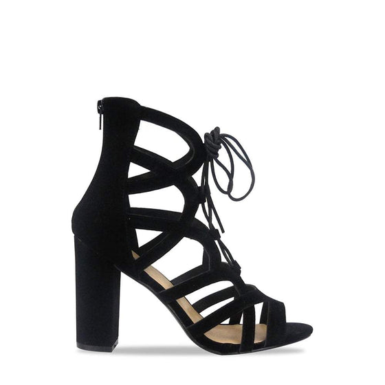 Bianca Lace Up Strappy Open Toe Block Heel Shoe