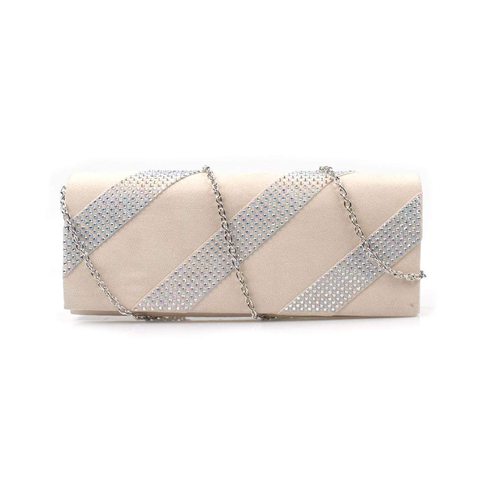 Diana Suede Clutch Diamante Embellished Bag