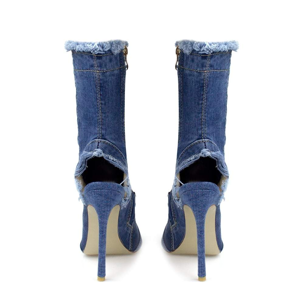 Chyna Distressed Denim Ankle Boot With Peep Heel And Toe
