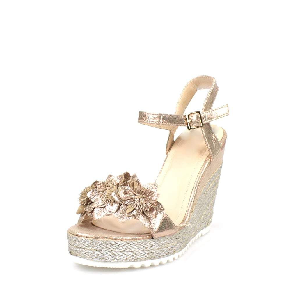Polly Ladies Women High Wedge Ankle Strap Flower Trim Open Toe Wedge Sandal