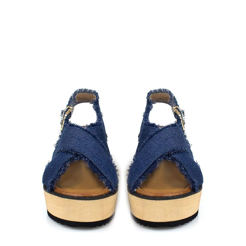Sonia Frayed Ankle Strap Denim Wedge
