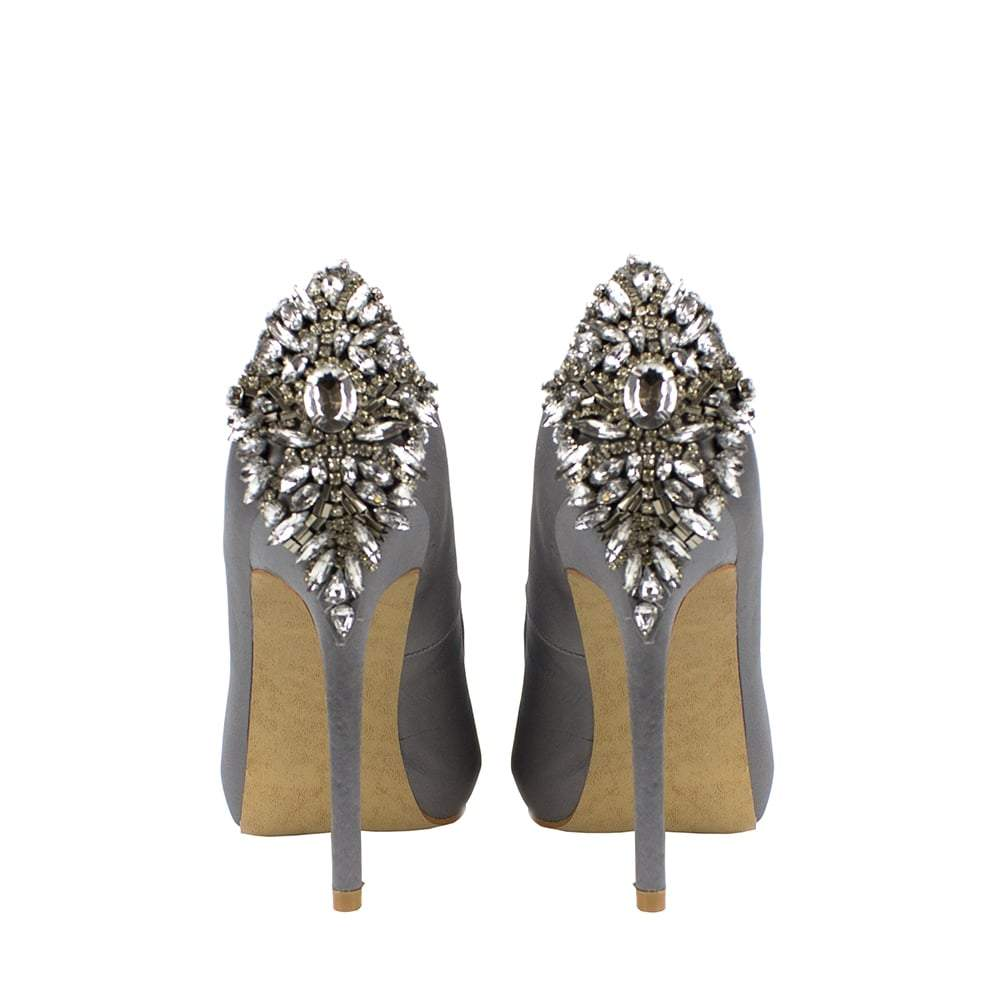 Nina Peep Toe With Diamante Gems On Back