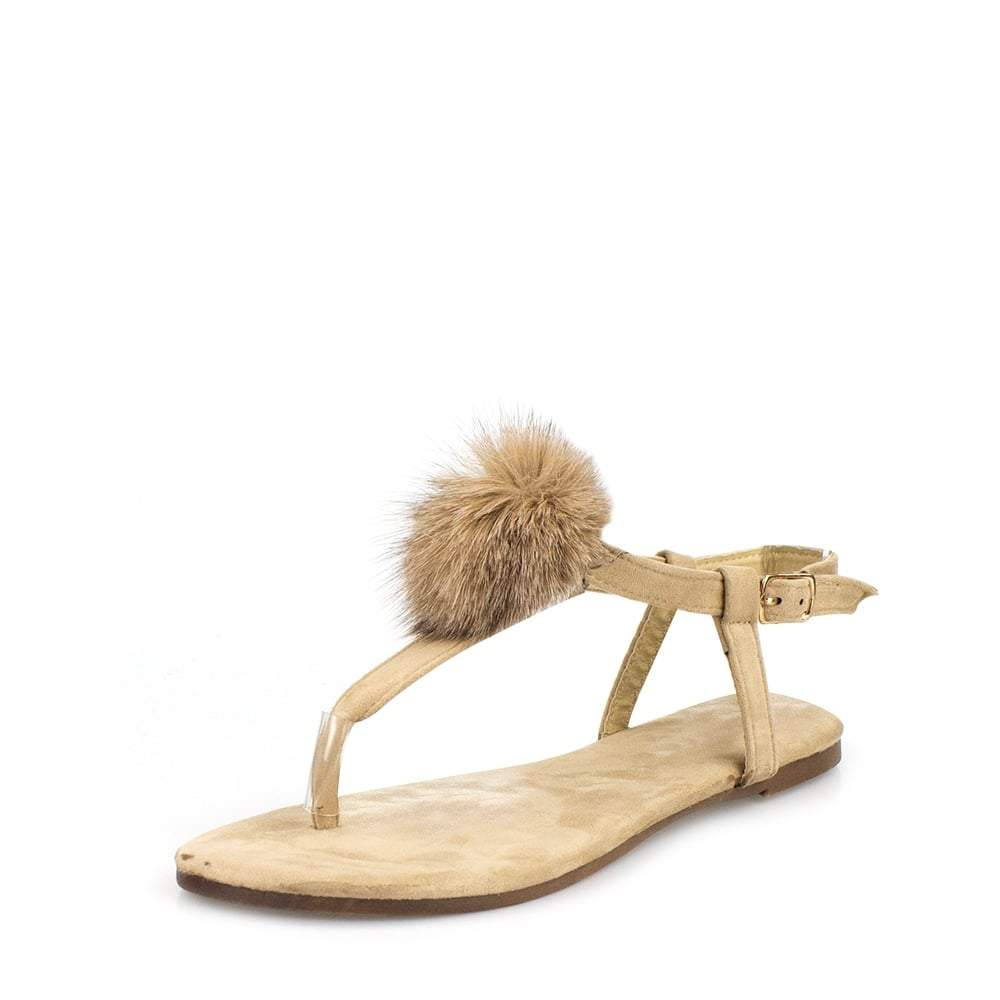 Lottie Toe Post Pom Pom Flat Sandal