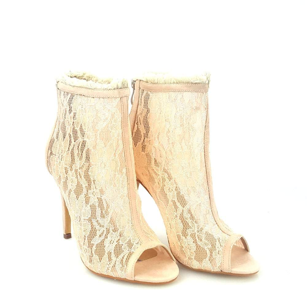 Joyce Lace Peep Toe Ankle Boot