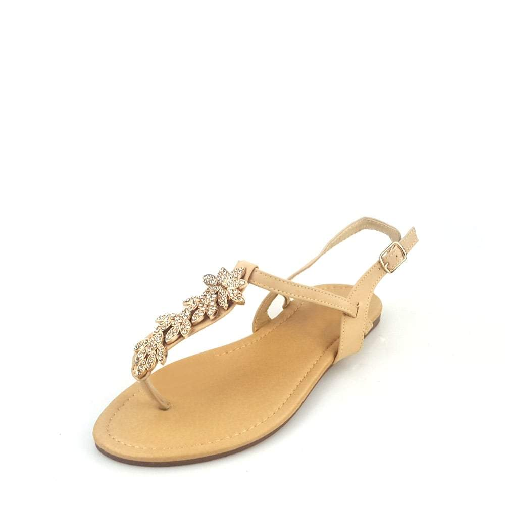 Kira Toe Post Diamante Flower Strap