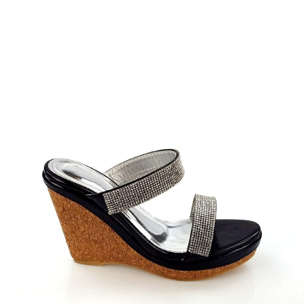 Parva Cork Wedge Diamante 2 Strap Sandal