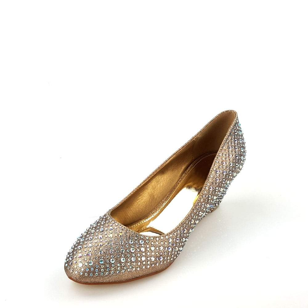 Hermione Low Wedge Diamante Court Shoe