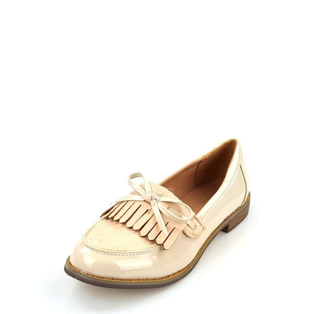 Flat Block Heel Bow Trim Loafer