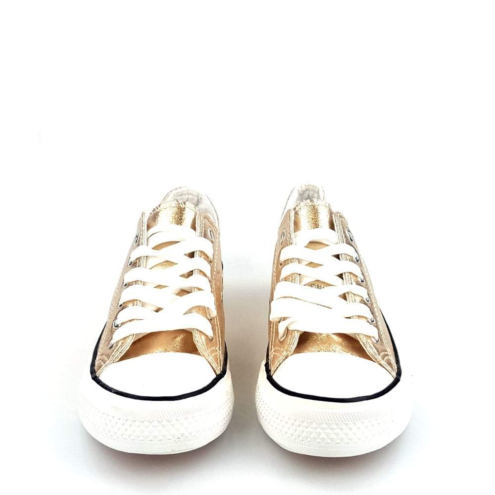Jackie Lace Up Metallic Canvas Trainer With Rubber Sole And Toe Cap