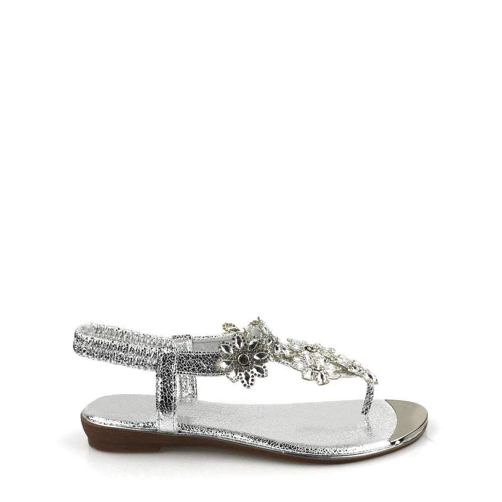 Tamaris Flower Diamante Slingback Toe-Post