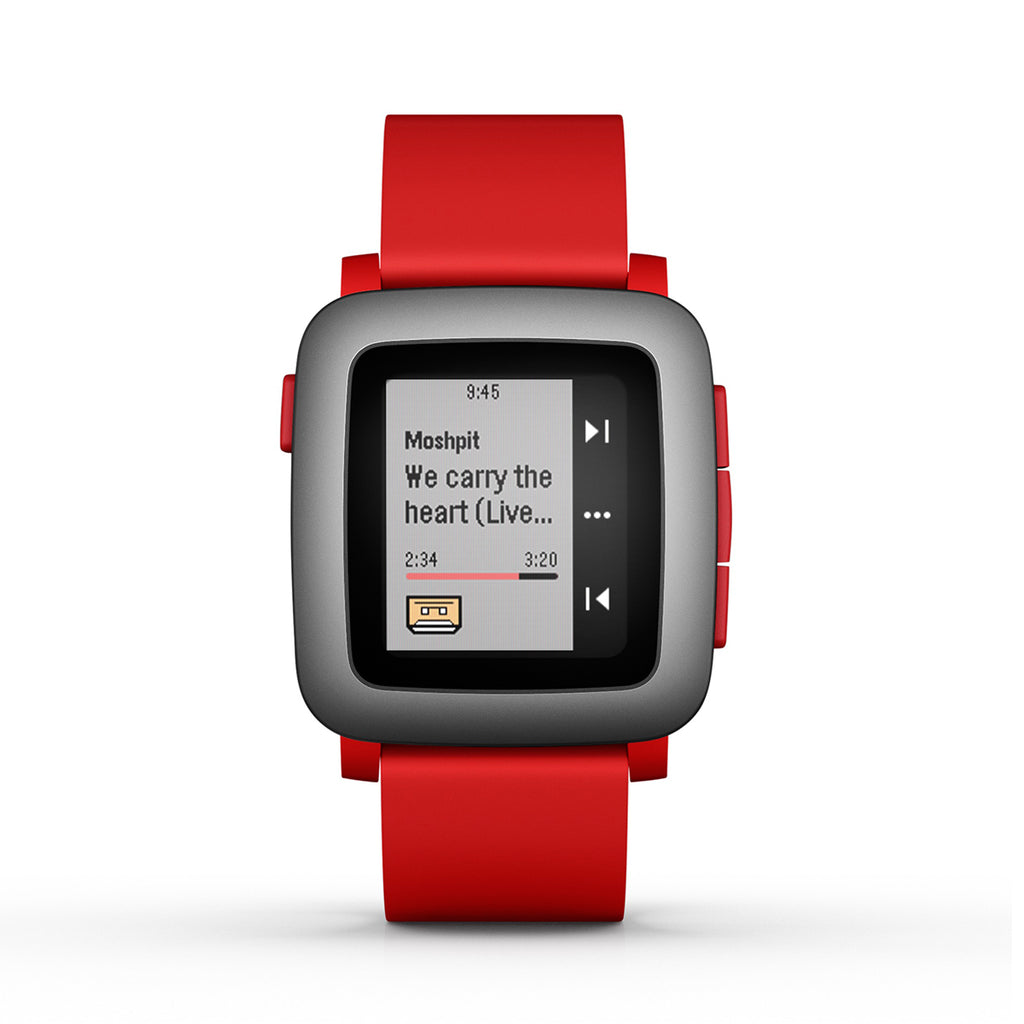 Pebble 501-00022 Stainless Steel Case Red Strap Time Smartwatch