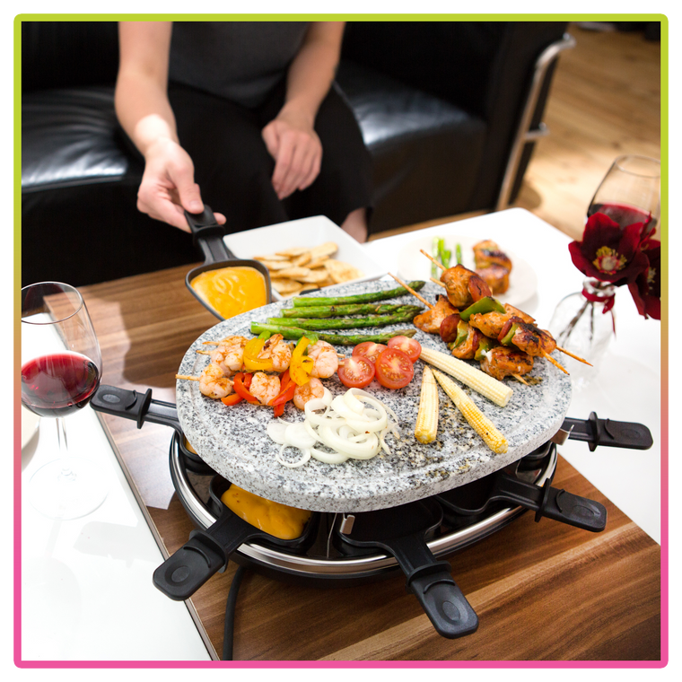 Deluxe 8 Person Raclette Natural Stone Grill Set Electric BBQ 8 Raclette Mini Pans 8 Spatulas Hotplate