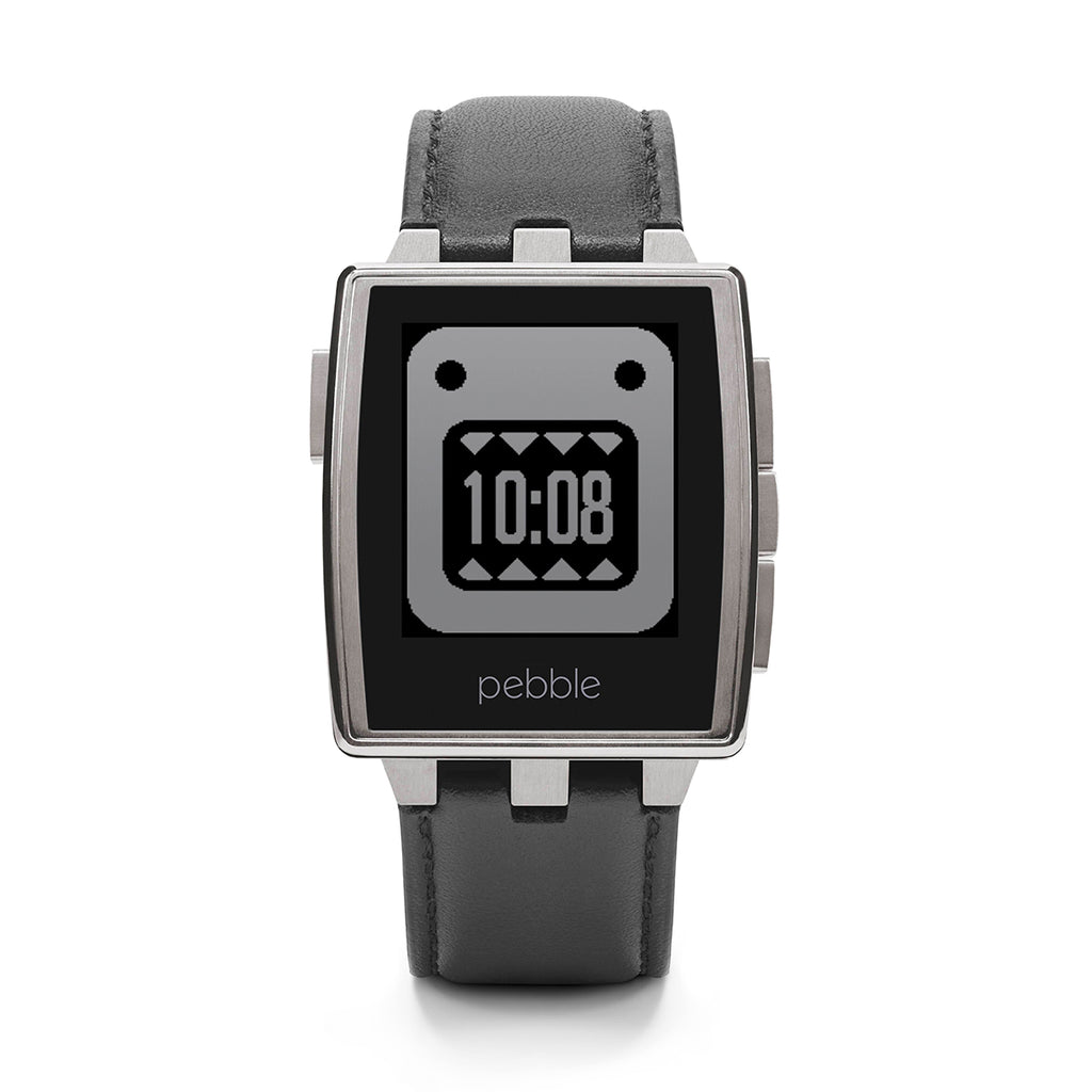 Pebble Steel 401SLR Black Leather Strap Brushed Stainless Steel Case Smartwatch
