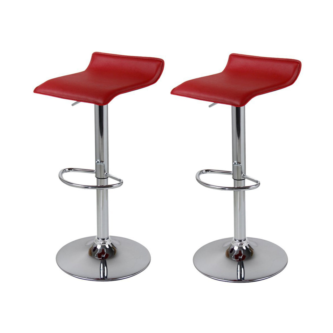 Homefresco Pair of Bar Stools Adjustable Footrest Black Red White (2 Pcs)