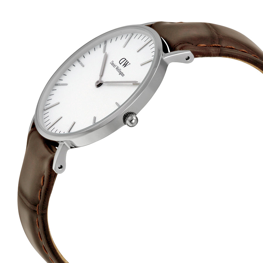 Daniel Wellington 0610DW Ladies Classic York White Dial Brown Leather 36 mm Watch