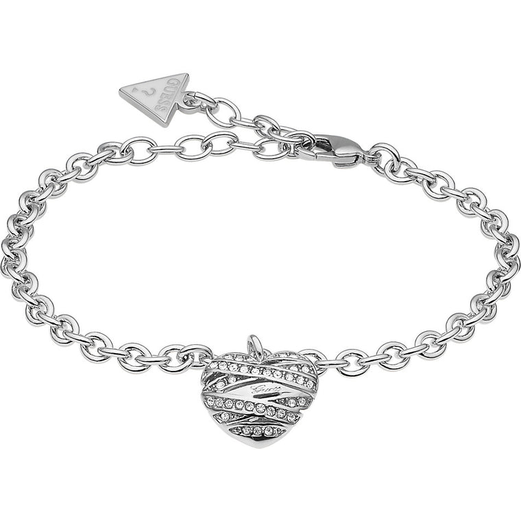 Guess Jewellery UBB21594-S Ladies Bracelet with Heart Pendant Silver