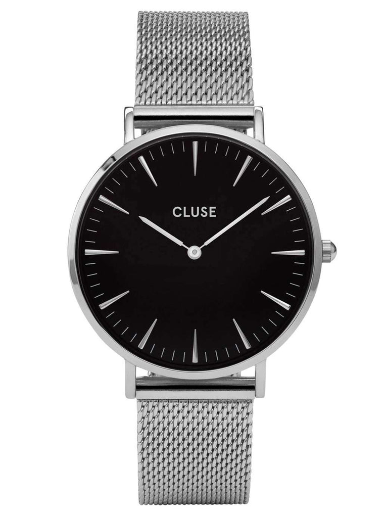 Cluse CL18106 Ladies Black Dial Silver Stainless Steel Quartz Watch