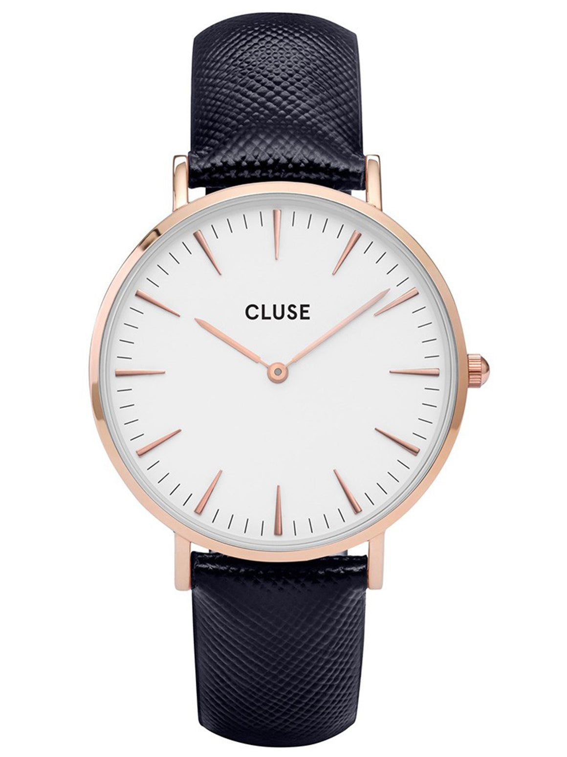 Cluse CL18029 La Boheme Ladies PVD Rose Gold Plated Steel Case Blue Leather Strap Quartz Watch