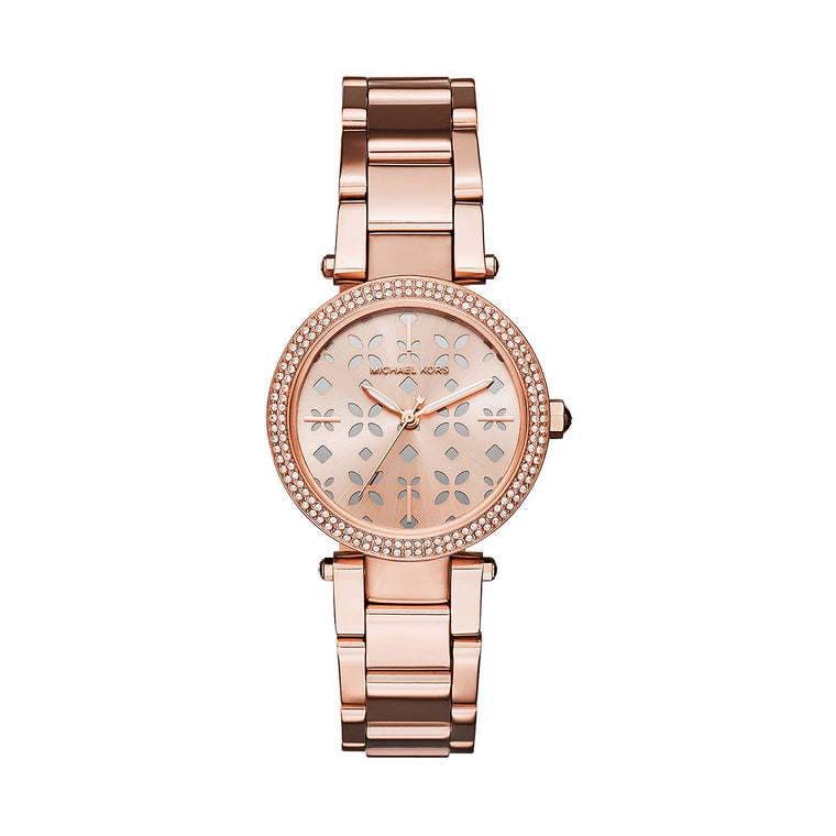 Michael Kors Mk6470 Mini Parker Rose Floral Cutout Dial Ladies Watch