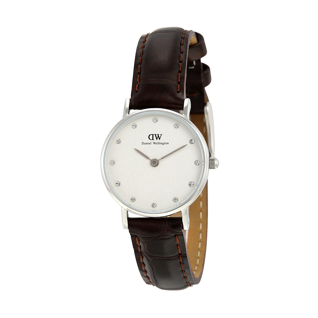 Daniel Wellington 0922DW Ladies Classy York White Dial Brown Leather 26 mm Watch