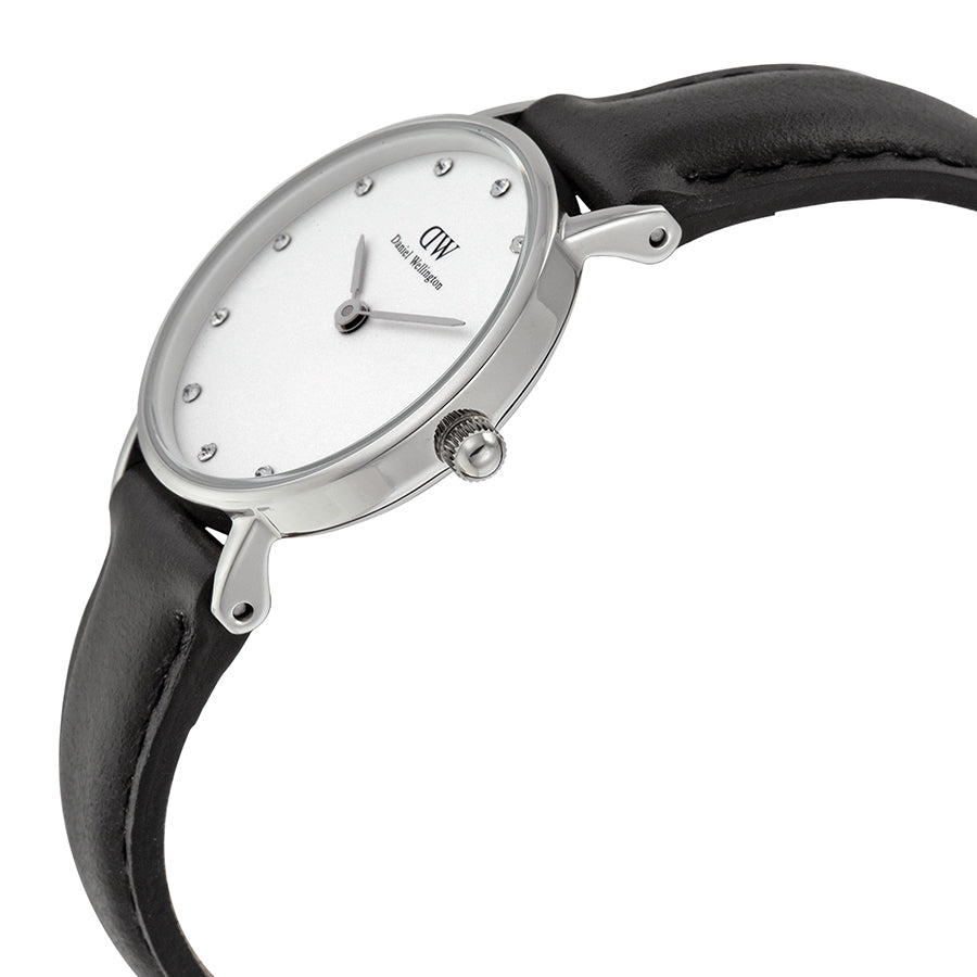 Daniel Wellington 0921DW Ladies Classy Sheffield Eggshell White Dial Black Leather Watch