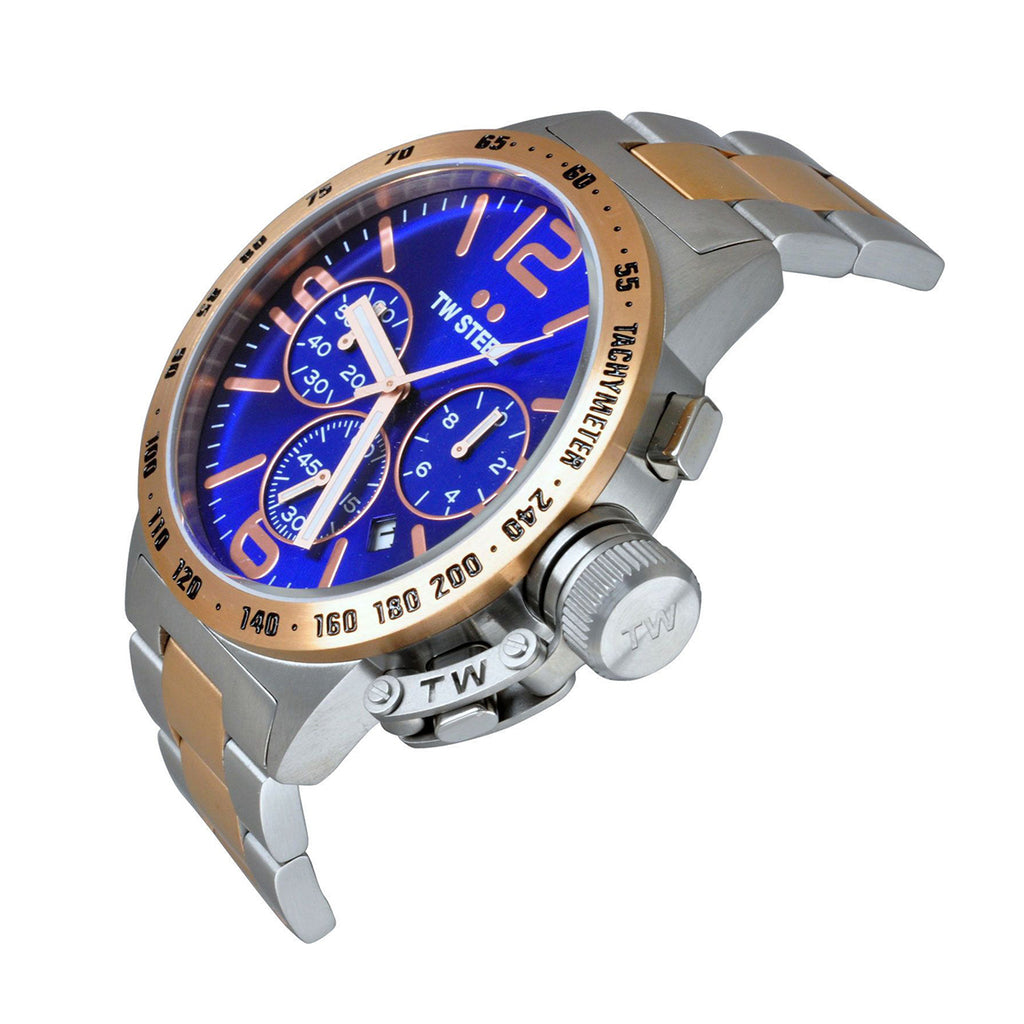TW Steel CB143 Canteen Men's Chronograph Blue Dial Two-Tone Stainless Steel Quartz Watch