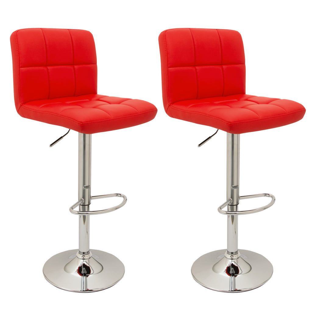Pair of Cube Bar Stools (Black, Cream, Red, White, Brown, Grey)