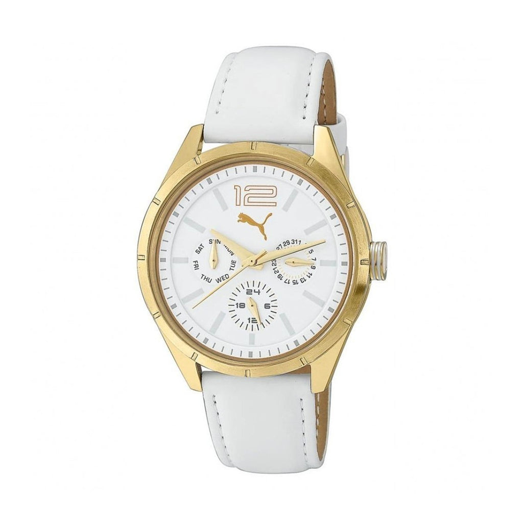 Puma PU102622002 Women's Driver Multifunctions Gold Case Leather Strap Quartz Watch