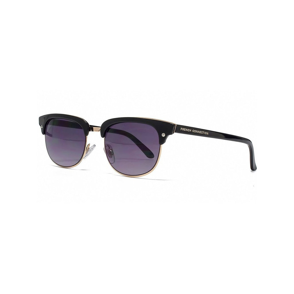 French Connection Clubmaster Sunglasses Black Rose Gold Frame Smoke Lens FCU640