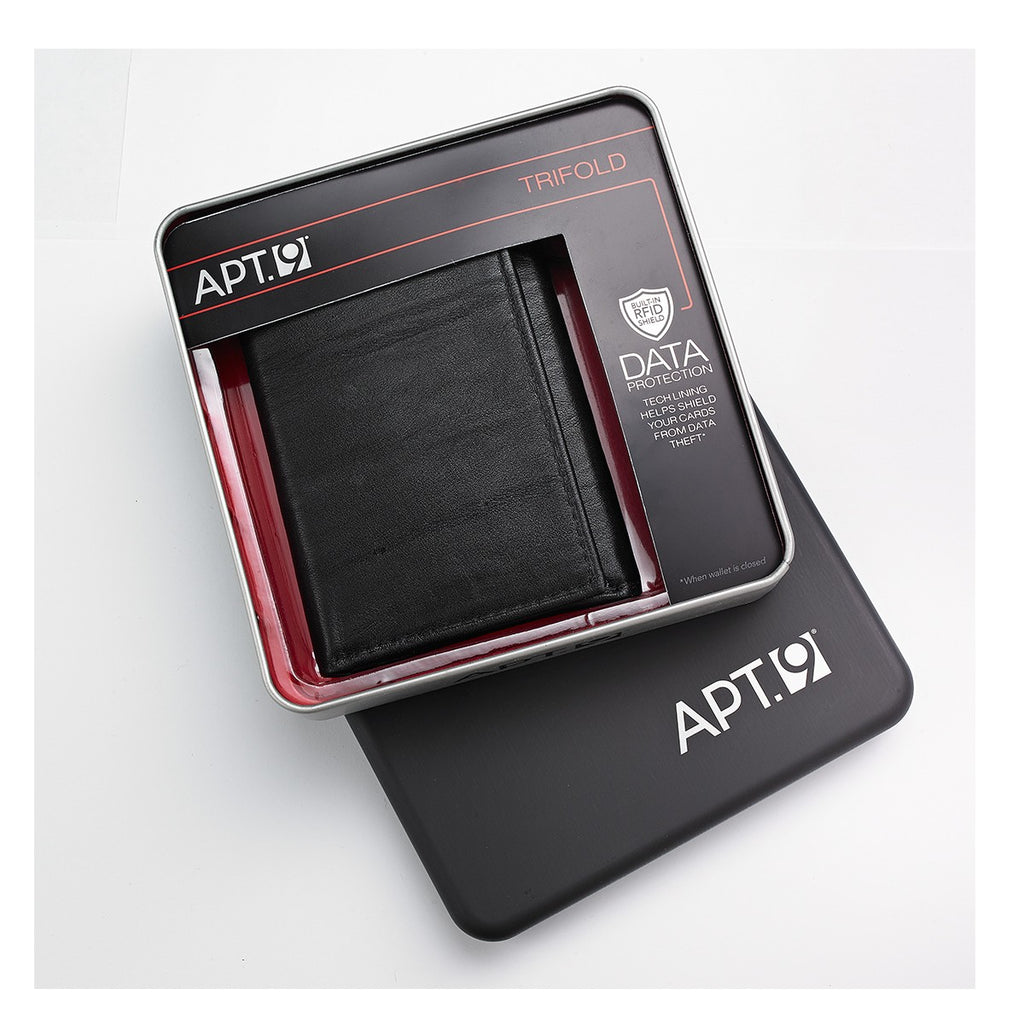 APT.9 31AN11x002 Men's Black Leather Trifold Wallet