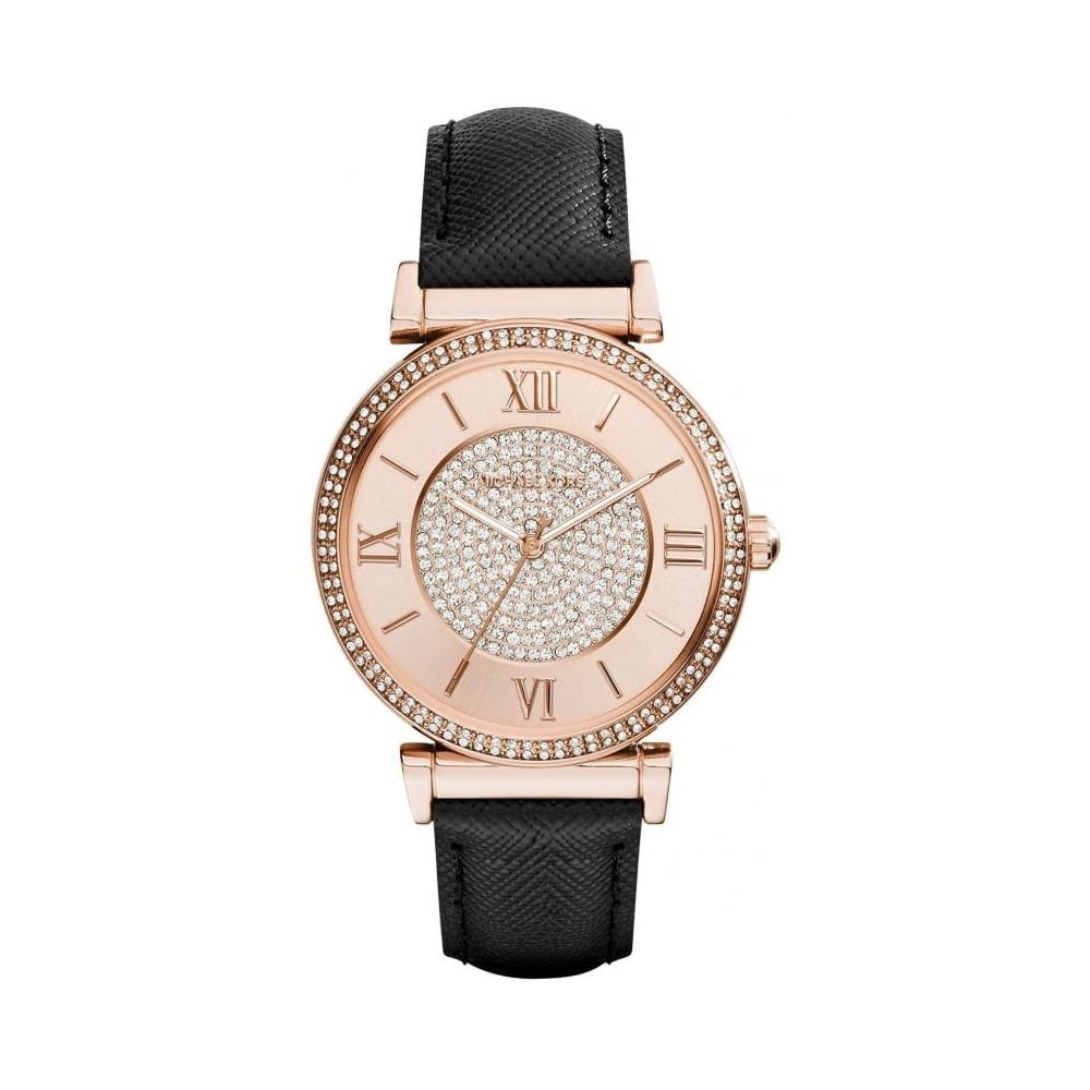 MK2376 Catlin Rose Crystal-set Black Leather Ladies Watch