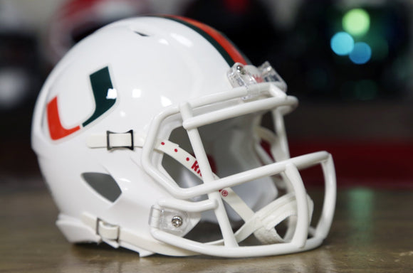Miami Hurricanes Riddell Speed Mini Helmet - White