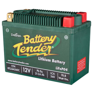 21-24 Amps, 12V Lithium Iron Phosphate - Motorcycle Battery (BTL24A360C)