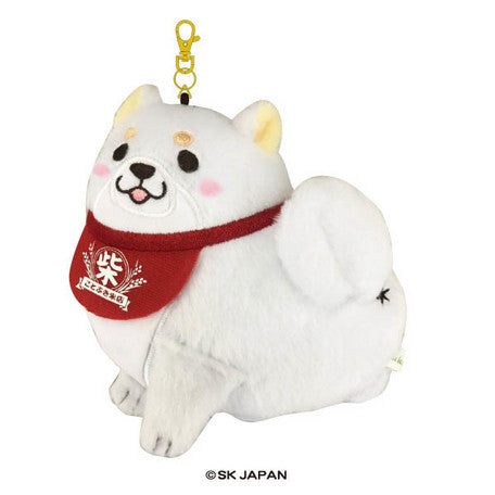 Chuken Mochi Shiba Card Holder with Retractable Chain 13270 White