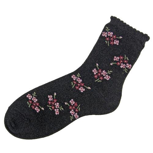 Shiny flower socks - Black with pink flower