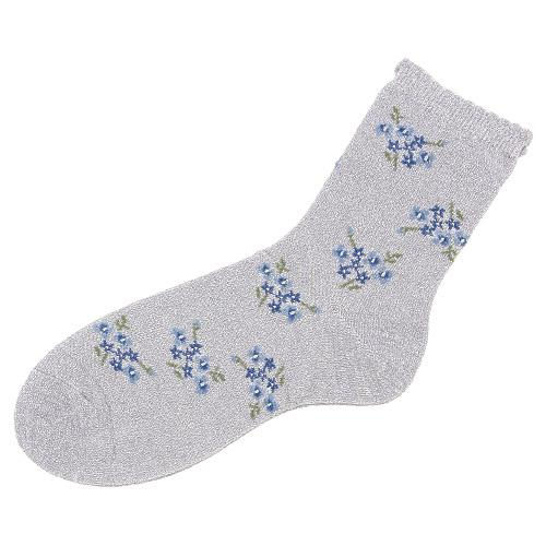 Shiny flower socks - Silver with blue flower