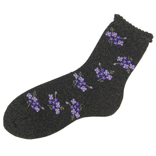 Shiny flower socks - black with purple flower