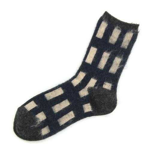 Brushed plaid socks - Grey
