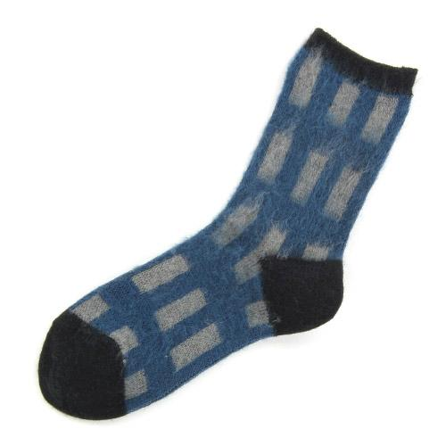 Brushed plaid socks - Black