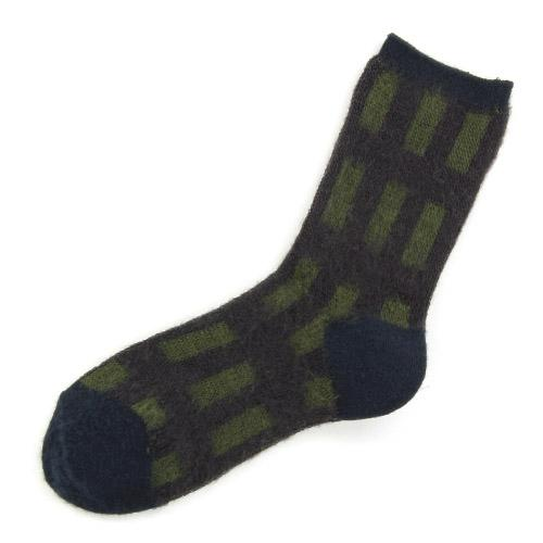 Brushed plaid socks - Navy blue