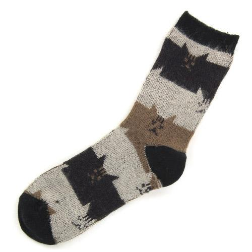 Brushed cat socks - Black